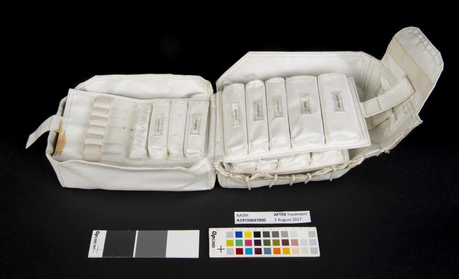 View of the interior of the medical accessory kit after medications were removed.
