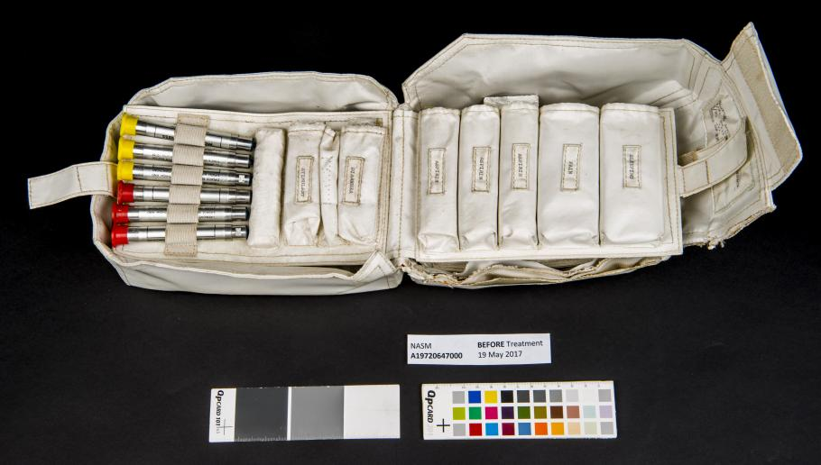 View of the interior of the medical accessory kit before medications were removed.
