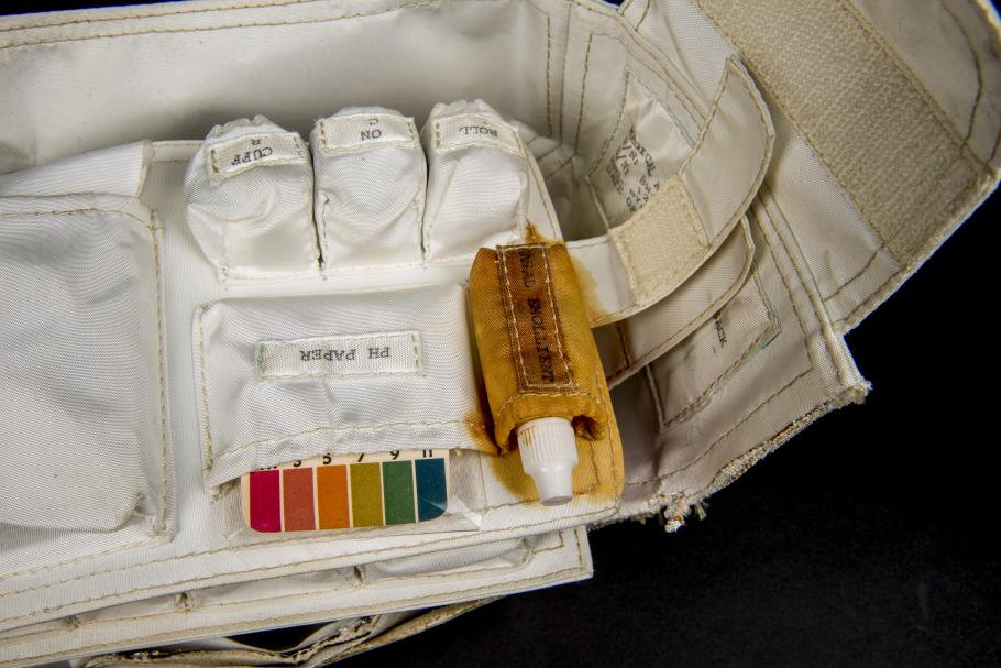Detail view of the leaky nasal emollient on the interior of the Apollo 11 medical accessory kit.
