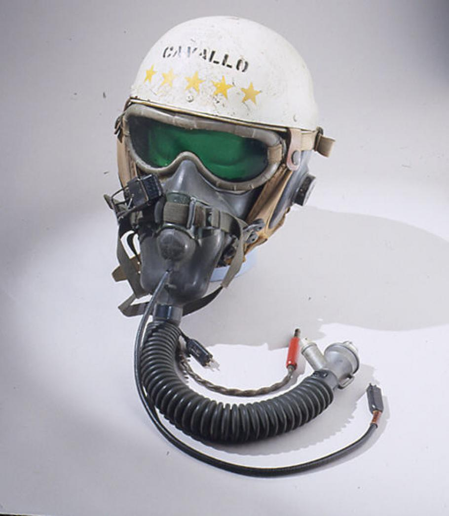 This helmet was made by Stefan A. Cavallo, a test pilot for the National Advisory Committee for Aeronautics (NACA)
