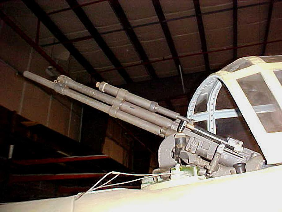 Close up of the aircraft's machine gun.