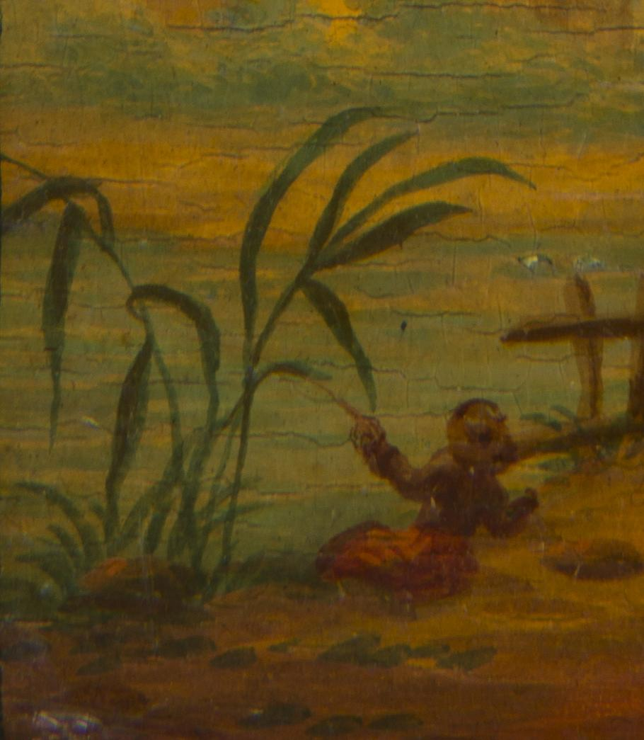 Detail of balloon dance card, showing fisherman on the bank of a river.