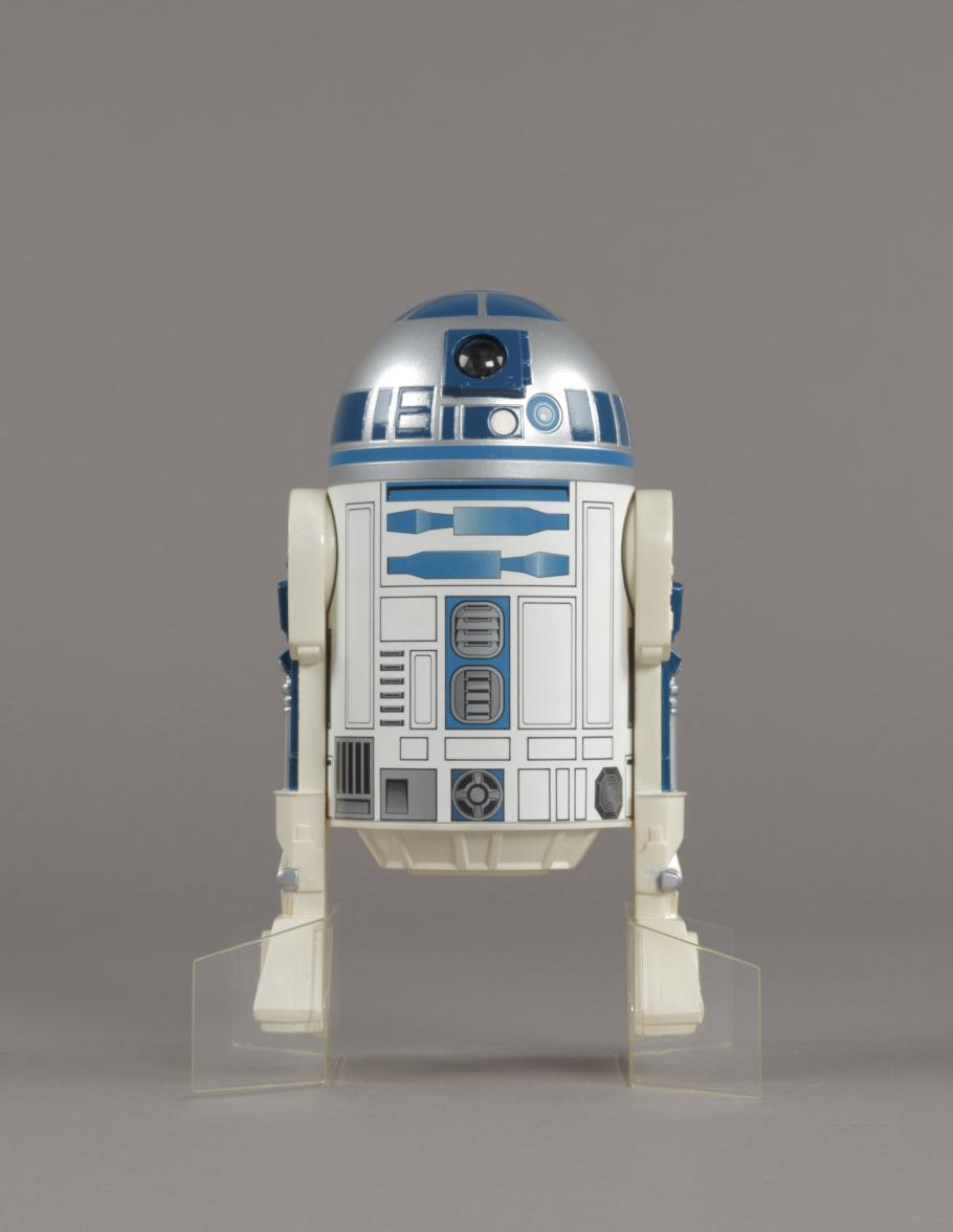 A photo of an R2-D2 action figure issued for The Empire Strikes Back.