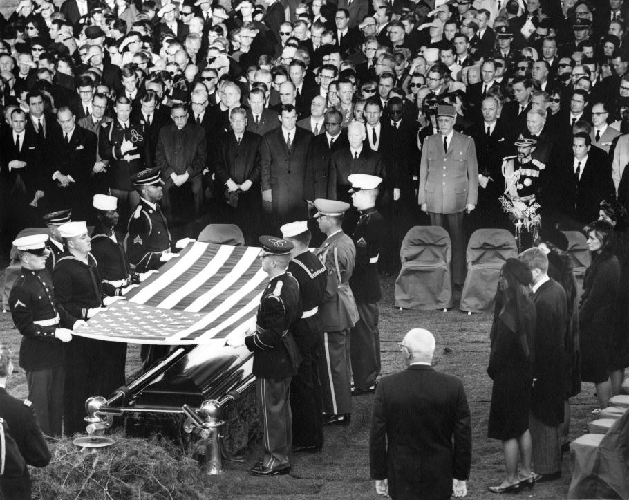 Burial and folding of the flag ceremony for President John F. Kennedy.