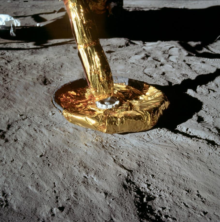 Close up of the circular lunar module foot pad.