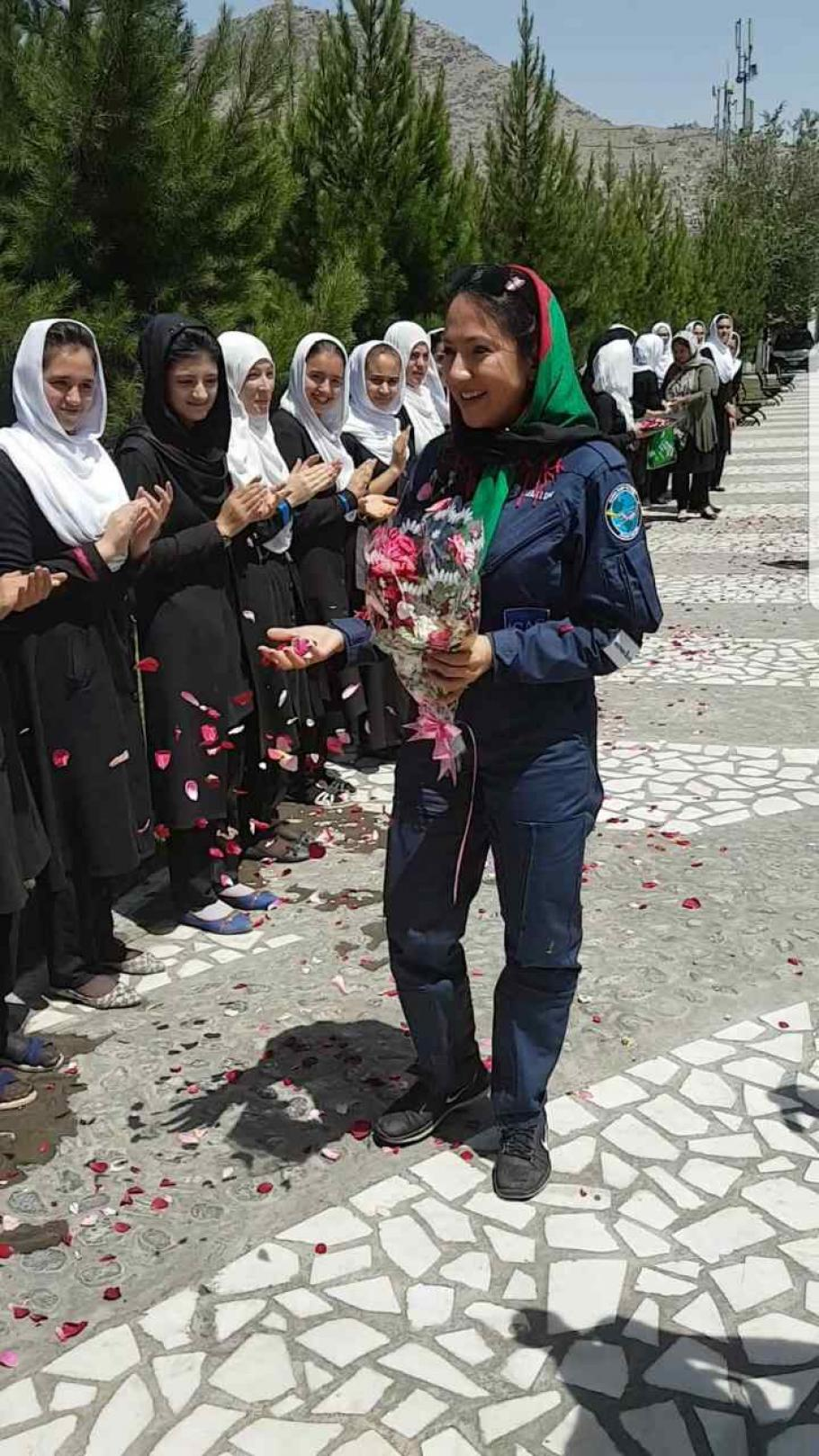 Shaesta returning to Kabul, Afghanistan, after her record-breaking flight.