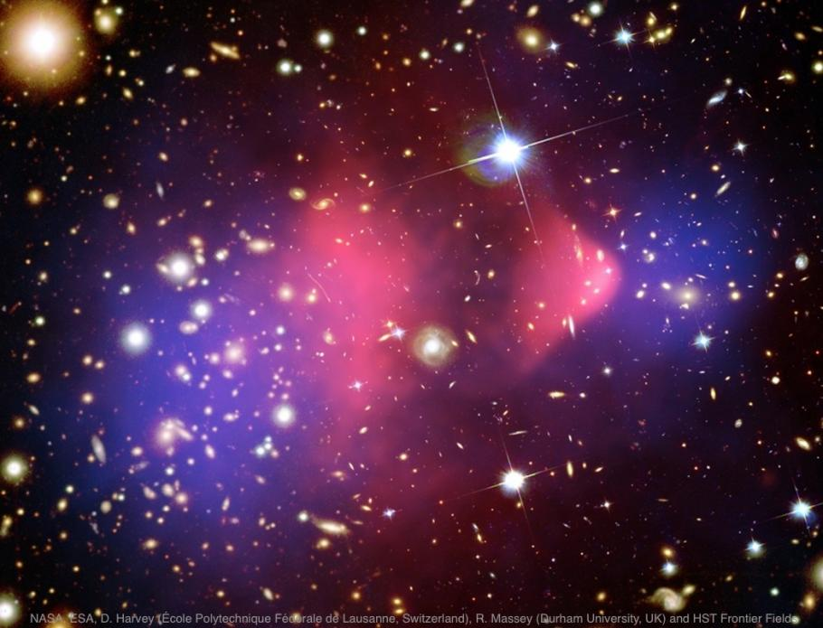 The Bullet Cluster where two galaxy clusters are colliding