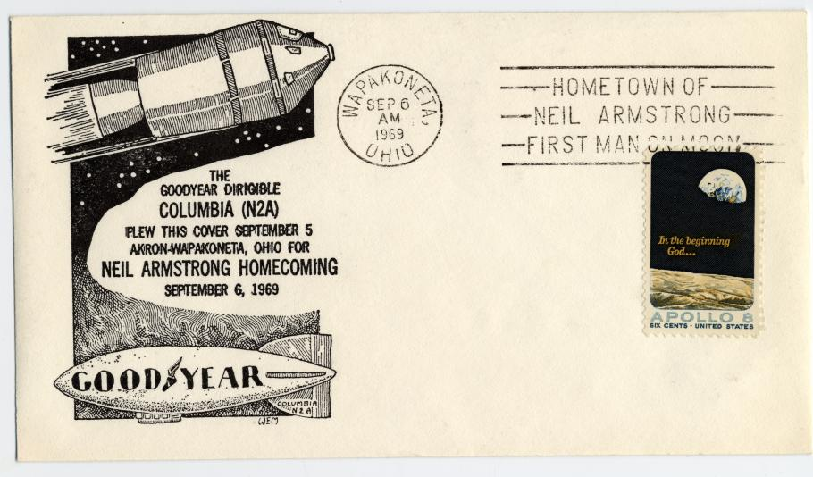 envelope from with drawing of command module and blimp