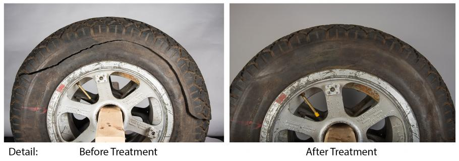 Before and after photo of tires