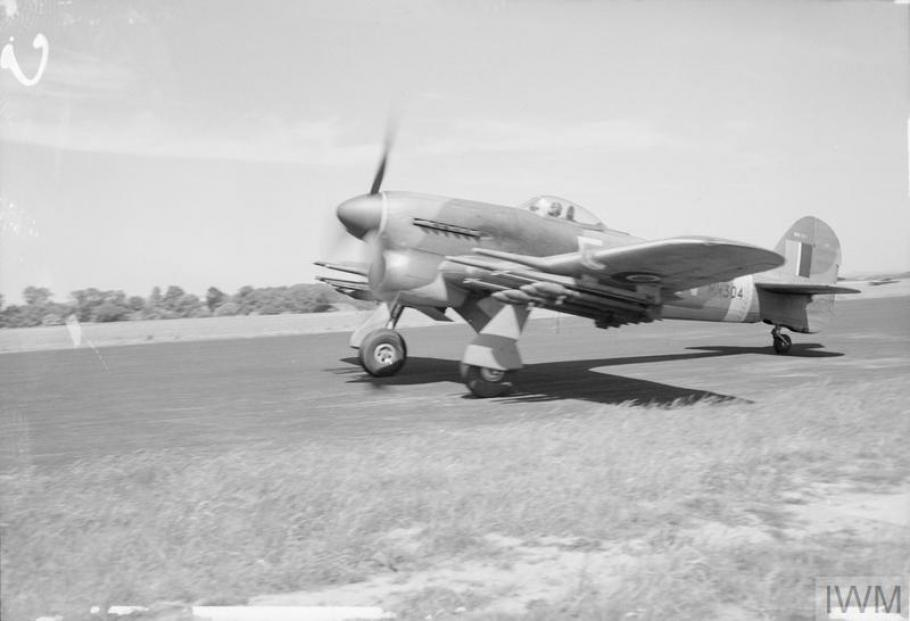 A rocket-equipped Hawker Typhoon IB of Royal Air Force No. 164 Squadron