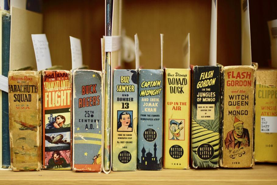 Row of colorful comics on a shelf.