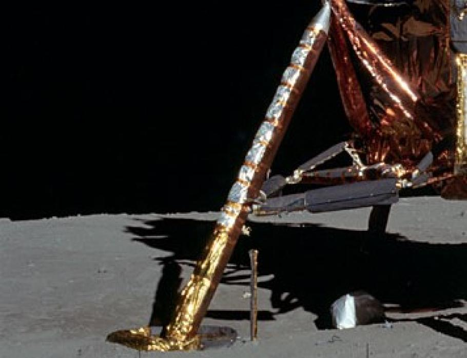 View of the landing struts of the lunar module on the Moon.