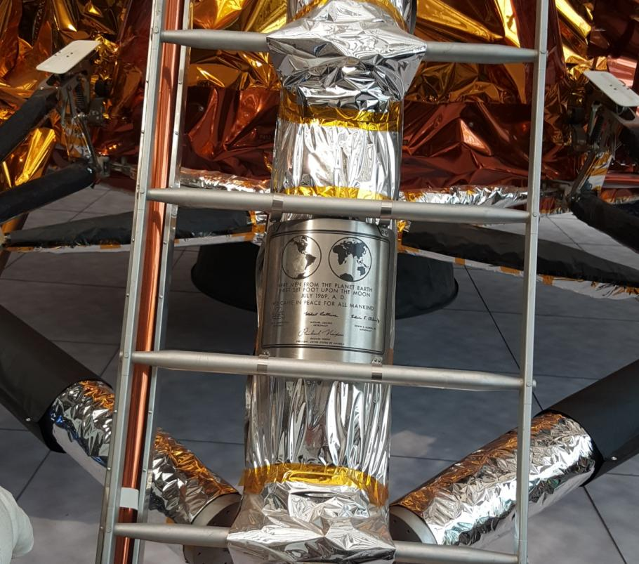 Close up of the Museum's lunar module plaque.
