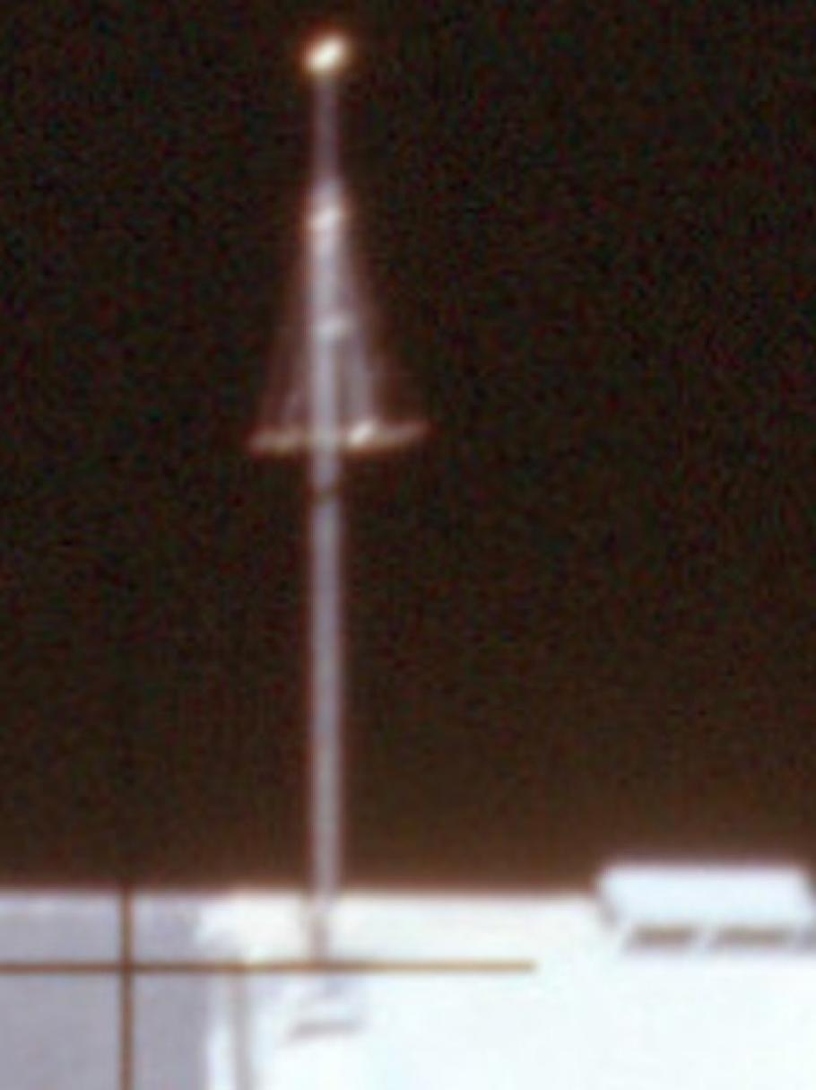 Blurry photo an antenna on the lunar module.