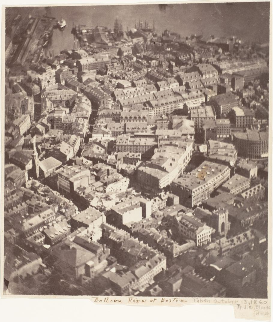 """""""Boston, as the Eagle and the Wild Goose See It"""" by James Wallace Black is the earliest surviving aerial photograph."""