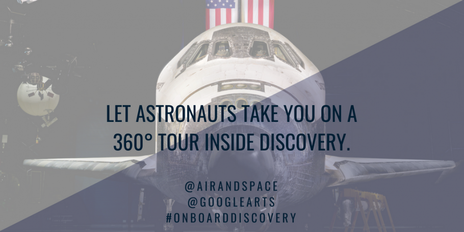 A Twitter graphic to promote the Smithsonian's National Air and Space Museum collaboration with Google Arts & Culture to celebrate the 34th anniversary of Space Shuttle Discovery's first launch.