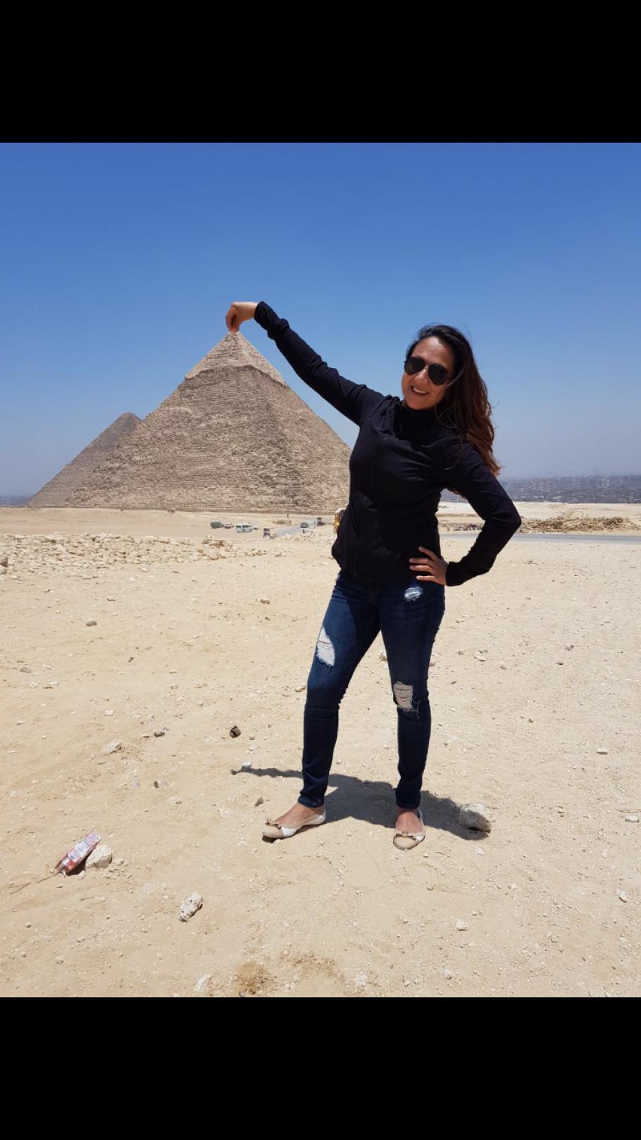 Shaesta Waiz in Egypt during her solo flight around the world.
