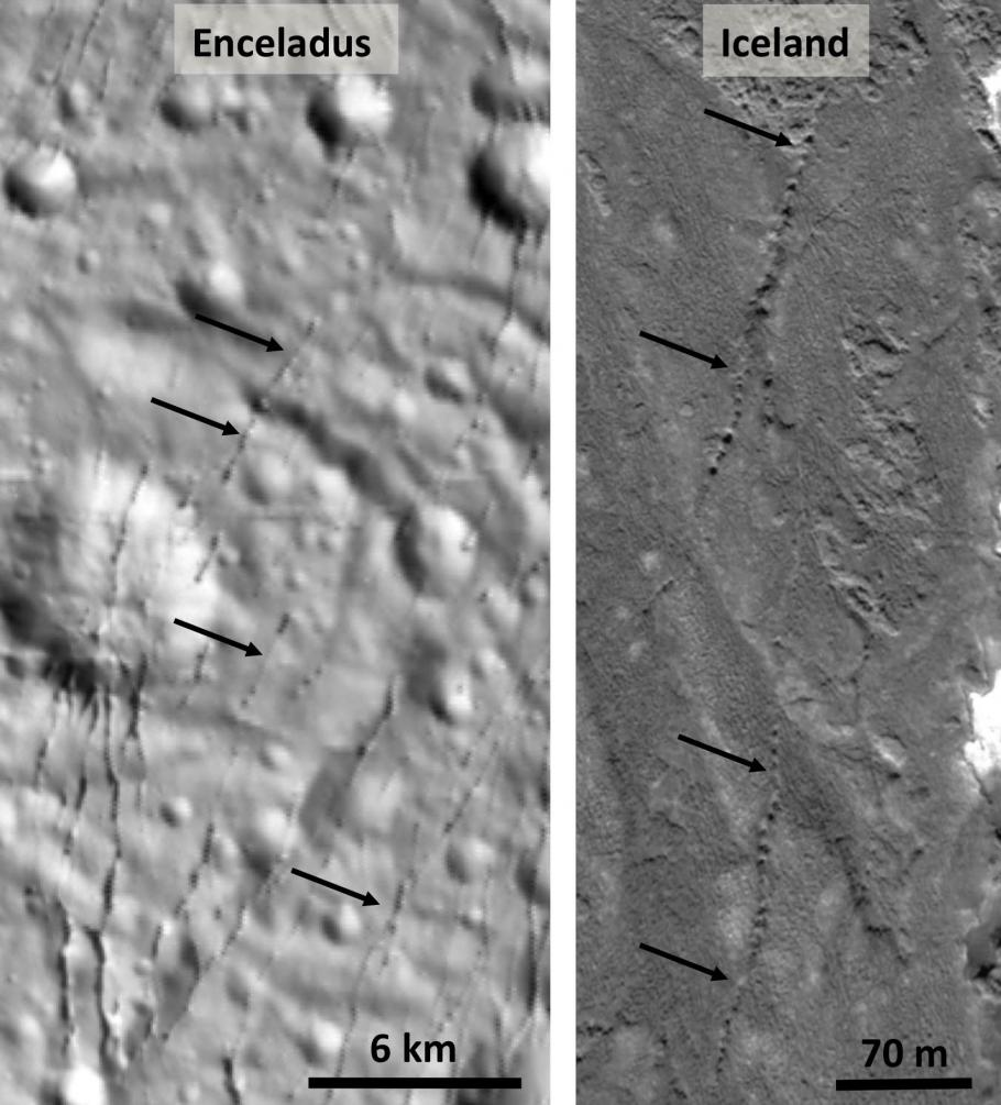 A photo comparison of Pit chains on Enceladus and in Iceland.