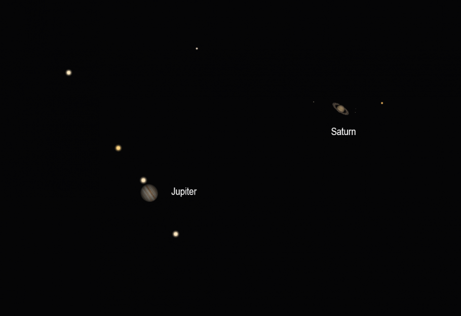 Illustration of Jupiter and Saturn during the great conjunction of 2020