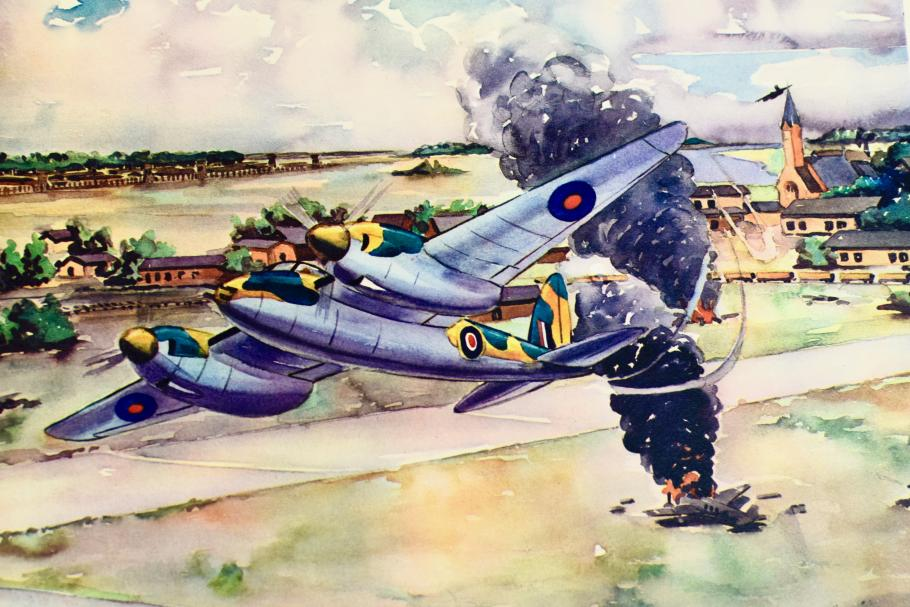 Watercolor of aircraft that had just been hit in the sky.
