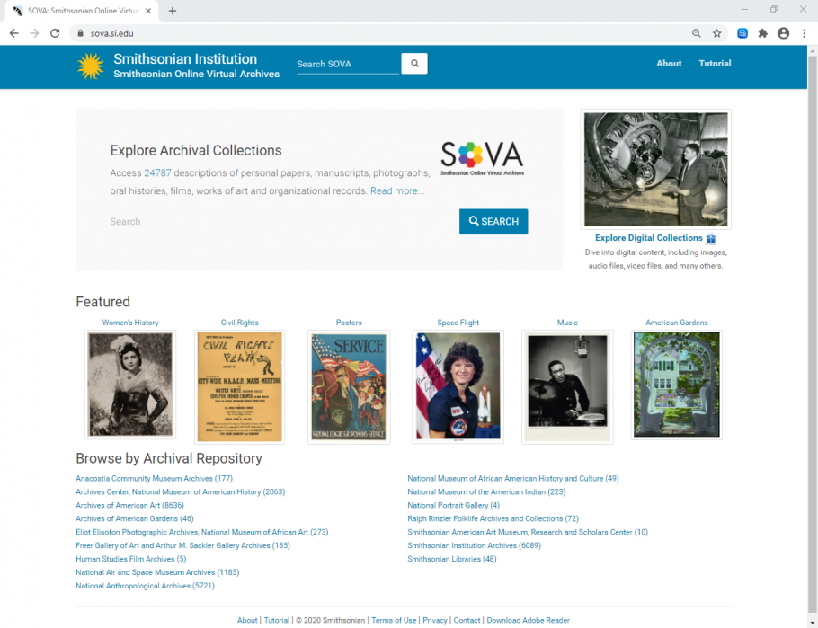 Screenshot of the home page of the Smithsonian Online Virtual Archives. Search bar at top. Digital Image at Right. SOVA icon in the middle. Six thumbnail images and list of repositories.