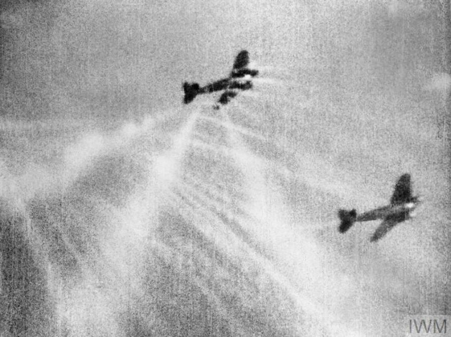 Two aircraft fighting