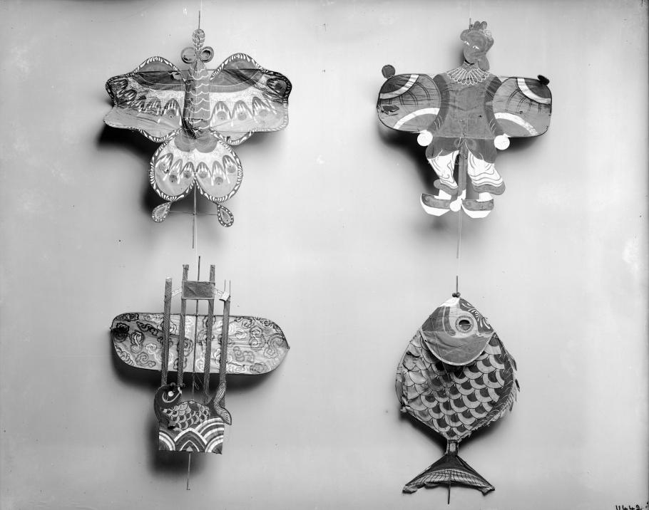 The Museum's Chinese kites hanging in the Tin Shed.