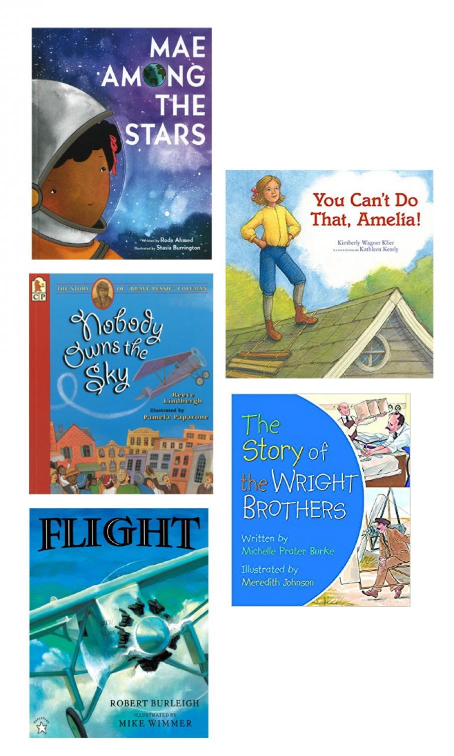 A composite image showing five children's book covers about air and space.