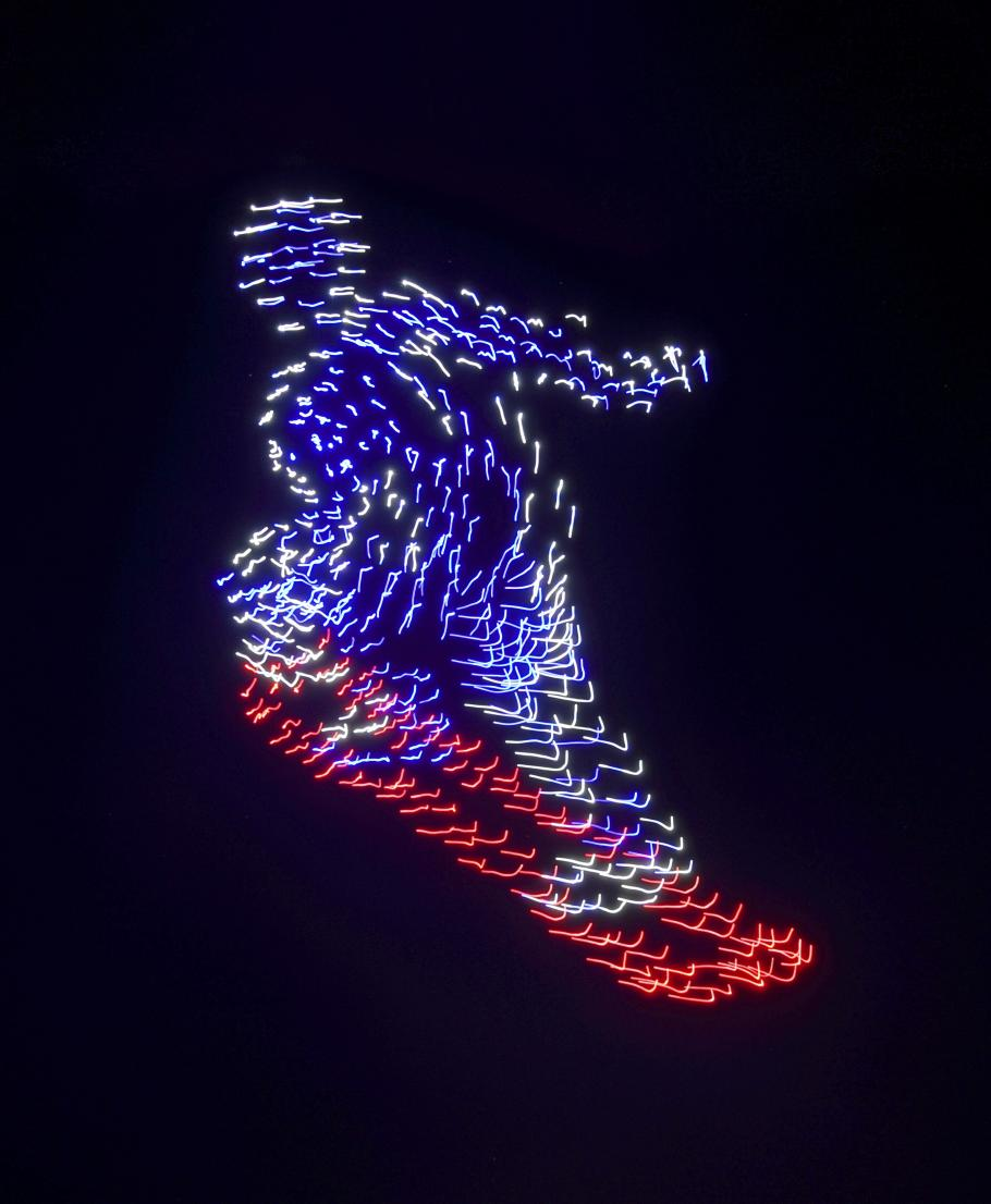 Drones in motion, animated as a snowboarder, as part of the opening ceremonies for the 2018 Winter Olympics.