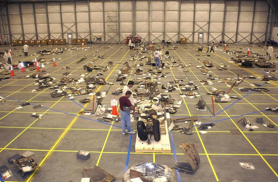 The largest pieces of Columbia's wreckage were laid out on a grid on the floor of the reconstruction hangar.