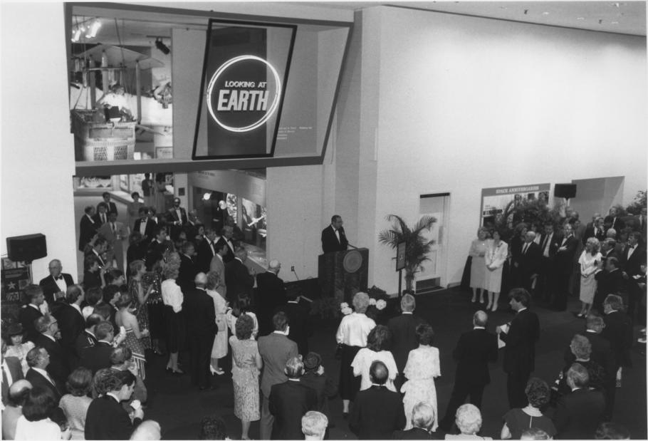 """The opening reception for the""""Looking at Earth"""" gallery"""