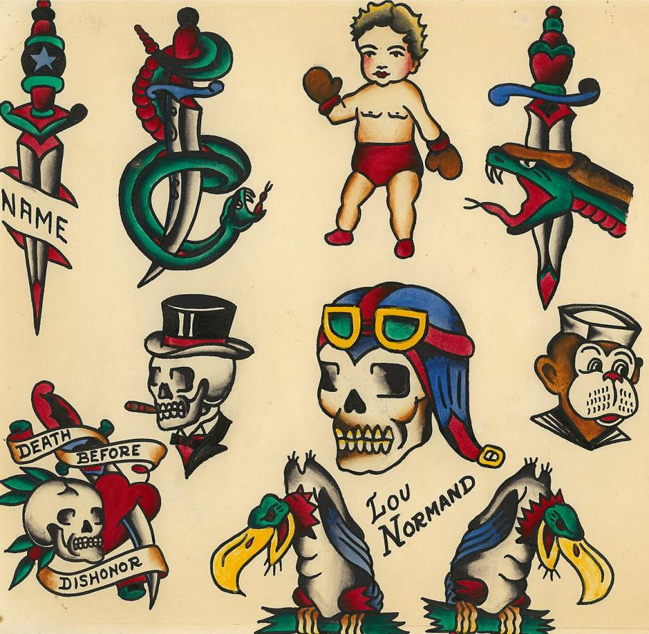 Tattoo flash art by Lou Normand