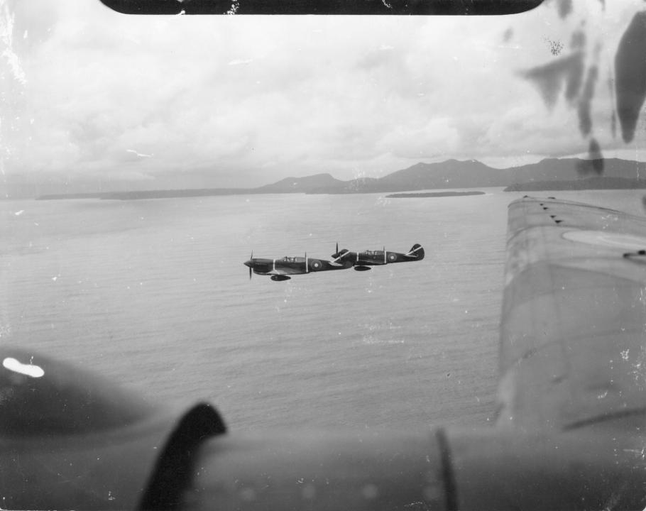 An air to air view of two No. 15 Squadron Kittyhawks