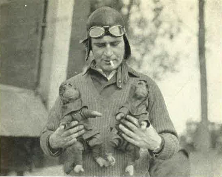 Leigh Wade with two monkeys.