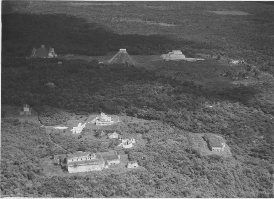 Lindbergh's image of the Maya ruins at Chichén Itzá, Yucatan, Mexico.