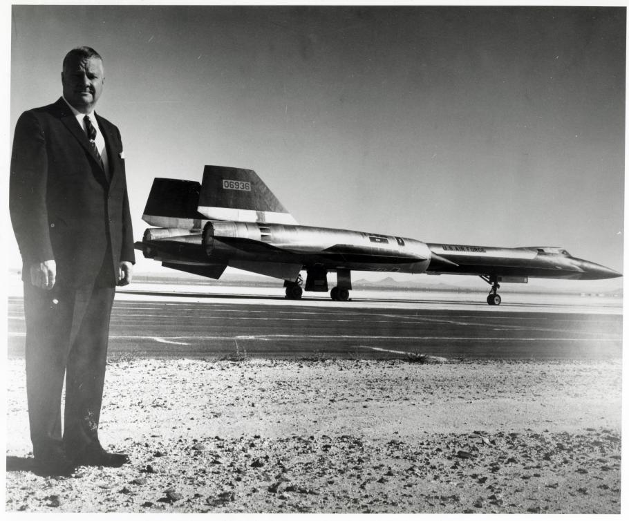 Kelly Johnson in foreground with YF-12A Blackbird in background