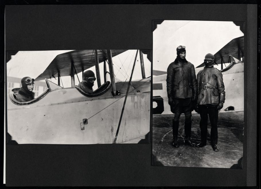 Two photos of men and an aircraft from a scrapbook