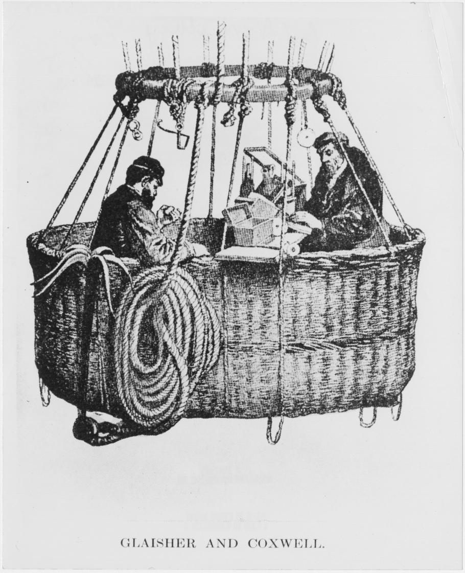 Two men in balloon basket