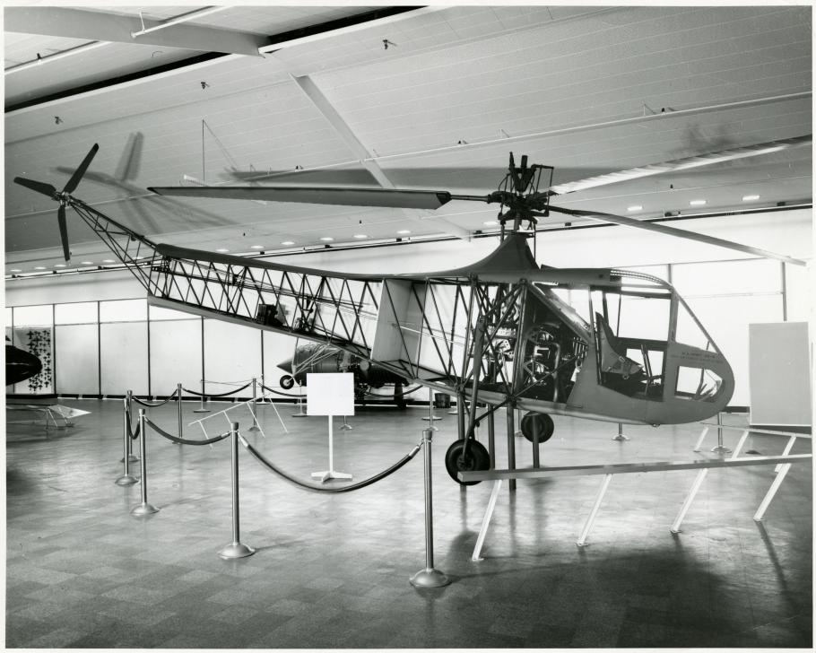 Helicopter on display in building