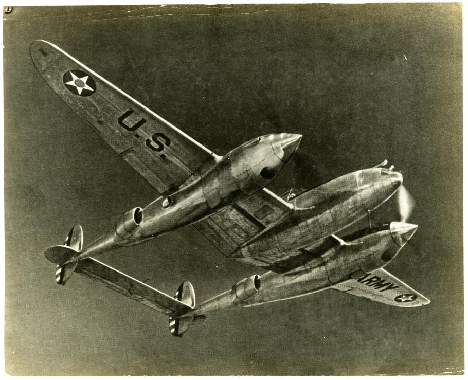 XP-38 In Flight