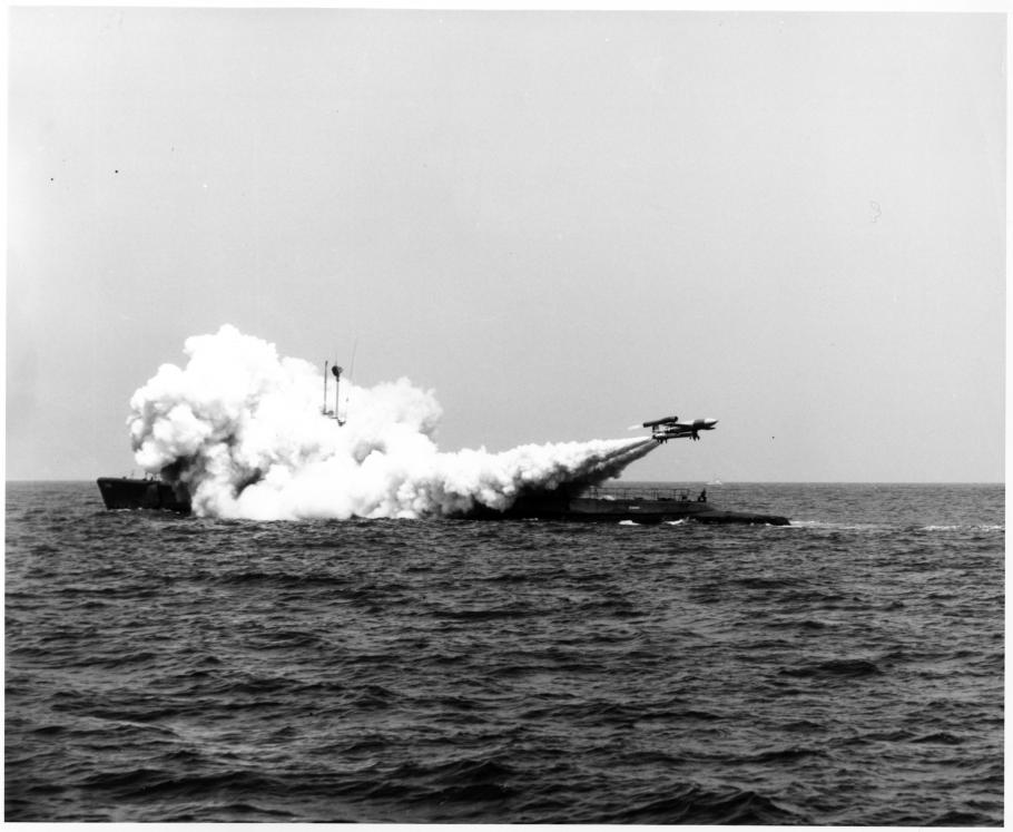 A Loon Missile moments after launch from the US Navy submarine USS Cusk as part of Project DERBY