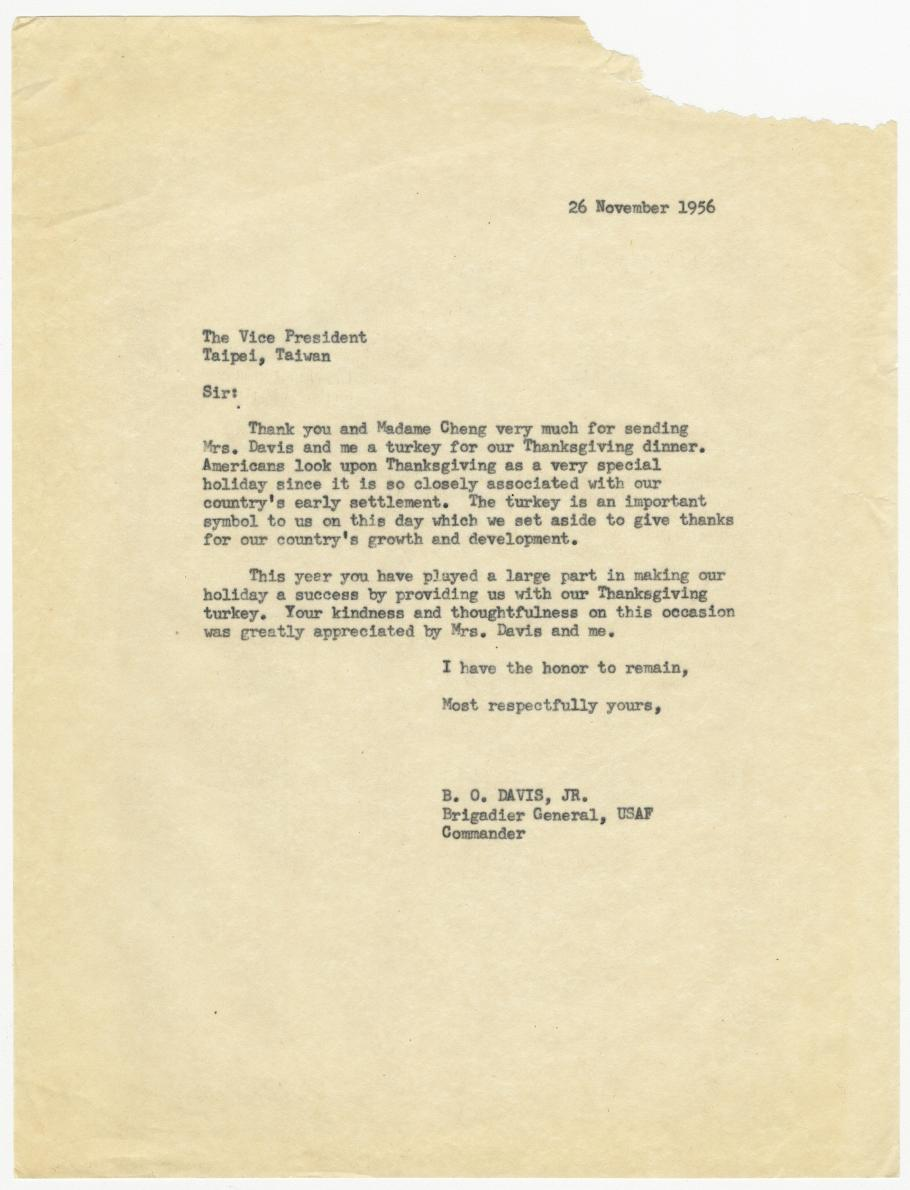 1956 Thank You Letter from Benjamin O. Davis