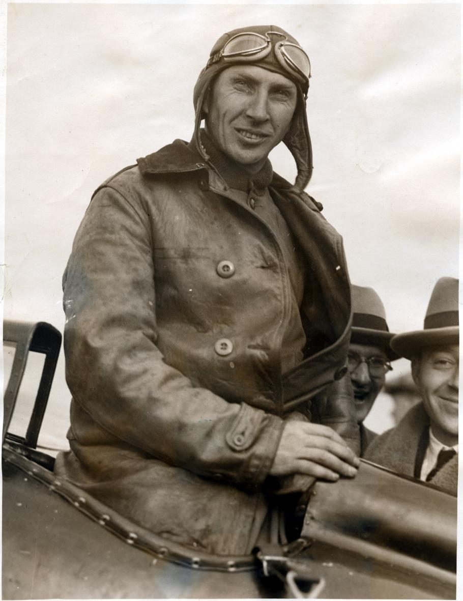 Close-up view of Cyrus Bettis in the cockpit of the Curtiss R3C-1 Racer after winning the Pulitzer Trophy at the 1925 National Air Races