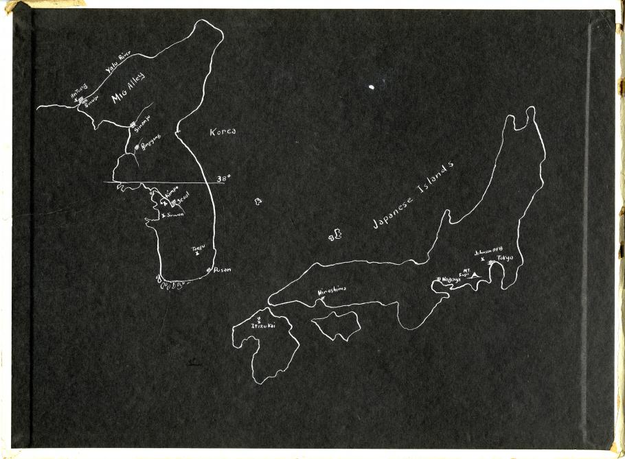Black Scrapbook Page with white ink drawing of Korean Peninsula and Japan
