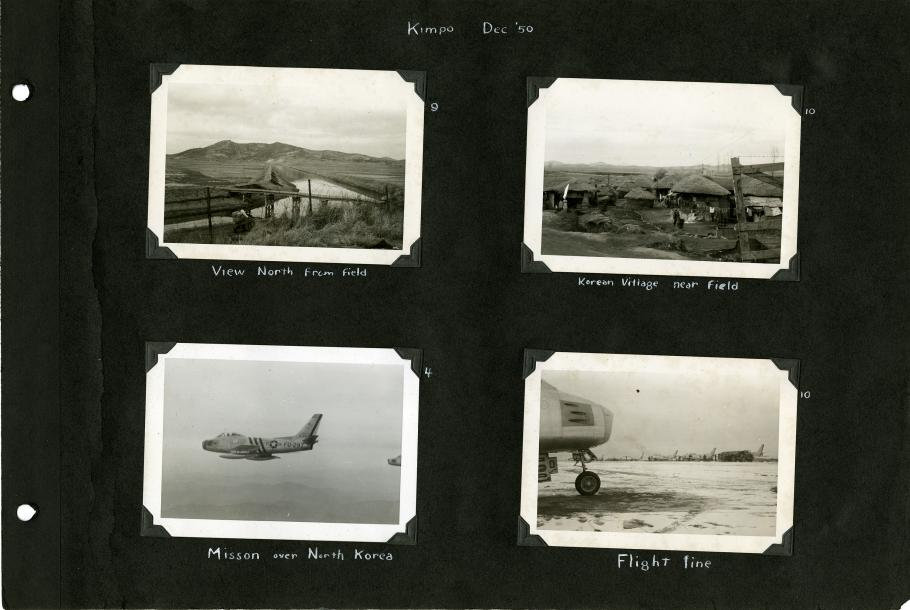 Black scrapbook page, four mounted photographs. Upper left: view of fields, a range of hills, a canal and a bridge. Upper right: villagers among thatched huts. Lower left: Left side view of Sabre in flight. Lower right: right side of aircraft more in back