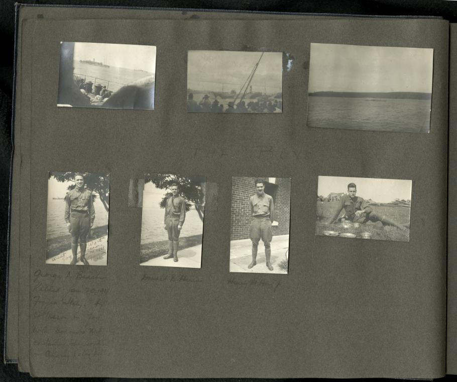 Top Three Photographs from a Ship's Deck, Bottom four photographs of soldiers