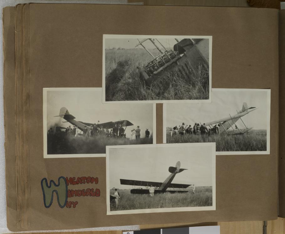 Scrapbook of airplane crash photos
