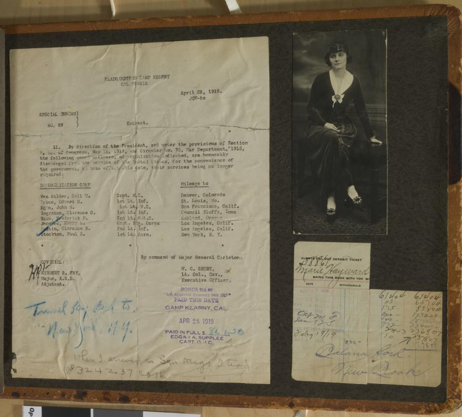 Discharge Papers and portrait of a woman