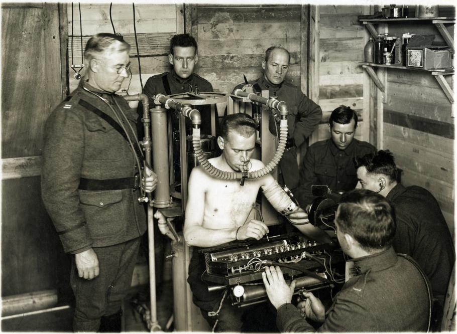 Man hooked up to medical equipment