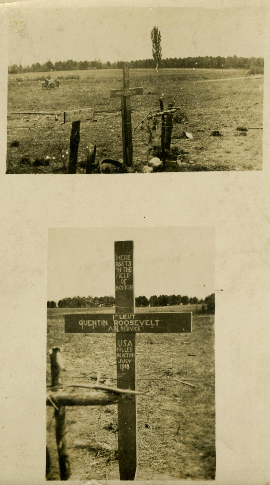 Two Views of gravesite with three crosses